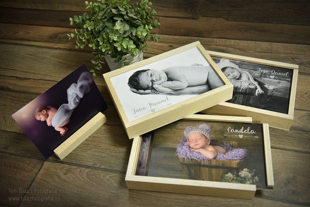 Conjunto de Cajitas de Madera Natural con fotos Newborn